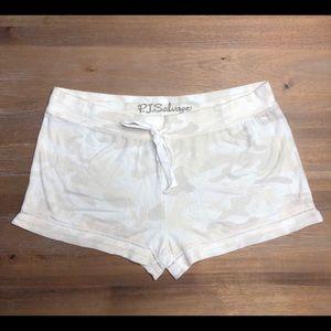 White camouflage pajama shorts